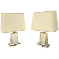 Vintage Messing und Plexiglas Tischlampen, Ein Paar, 1970er