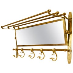 Vintage Brass and Mirror Hall Coat Rack