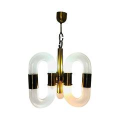 Vintage Brass and Murano Glass Chandelier, by Aldo Nason for Mazzega, 1970s
