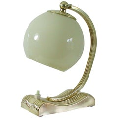 Vintage Brass and Opal Glass Table or Bedside Lamp, Germany, 1930s
