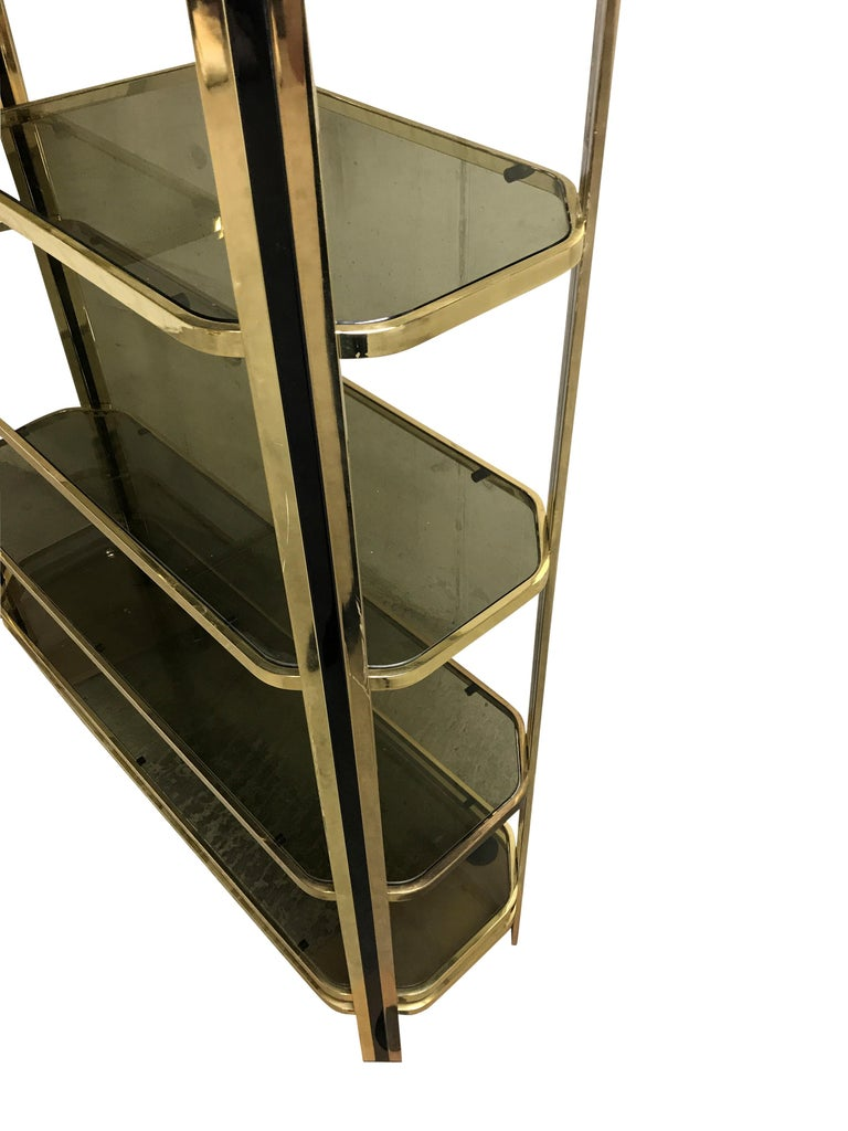 Hollywood Regency Vintage Brass and Smoked Glass Shelving Unit, 1970s For Sale