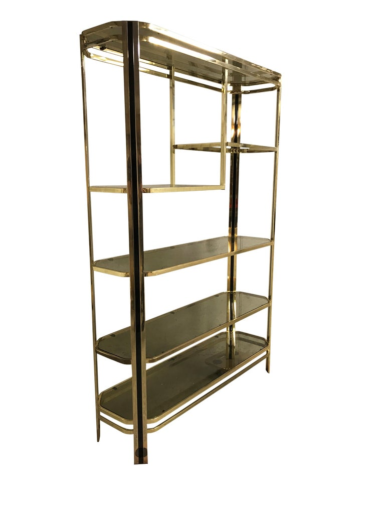 Belgian Vintage Brass and Smoked Glass Shelving Unit, 1970s For Sale