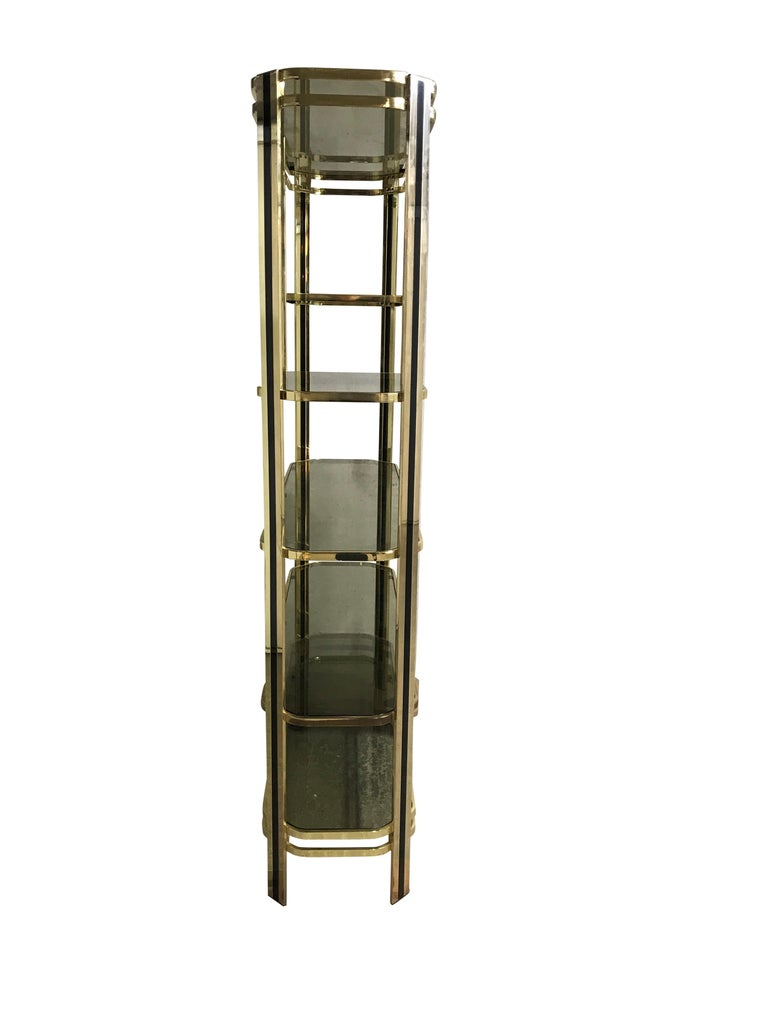 Late 20th Century Vintage Brass and Smoked Glass Shelving Unit, 1970s For Sale