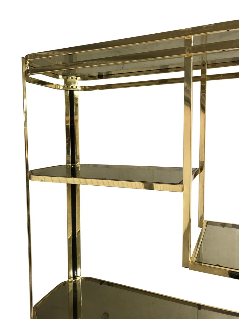 Vintage Brass and Smoked Glass Shelving Unit, 1970s For Sale 1