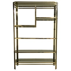 Vintage Brass and Smoked Glass Shelving Unit, 1970s