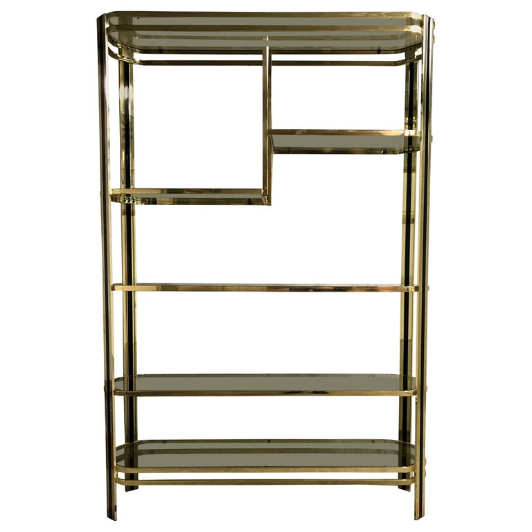 Vintage Brass and Smoked Glass Shelving Unit, 1970s For Sale