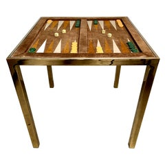 Vintage Brass and Suede Backgammon Table by Milo Baughman