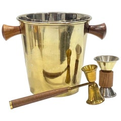 Vintage Brass and Teak Champagne Cooler with Barware Tools, c. 1970's