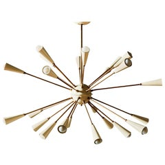 Vintage Brass and White Enameled Metal Sputnik Chandelier