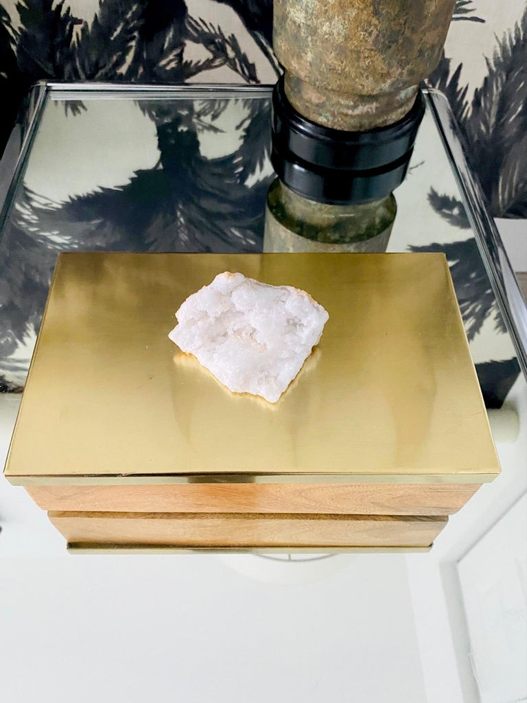 Brazilian Vintage Brass and Wood Decorative Box with Large Quartz Crystal Stone, Brazil For Sale