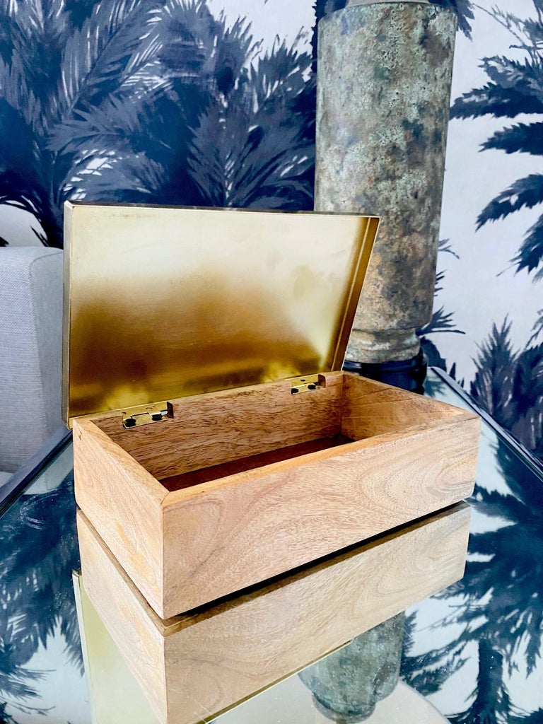 Contemporary Vintage Brass and Wood Decorative Box with Large Quartz Crystal Stone, Brazil For Sale