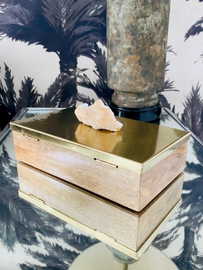 Vintage Brass and Wood Decorative Box with Large Quartz Crystal Stone, Brazil For Sale 1