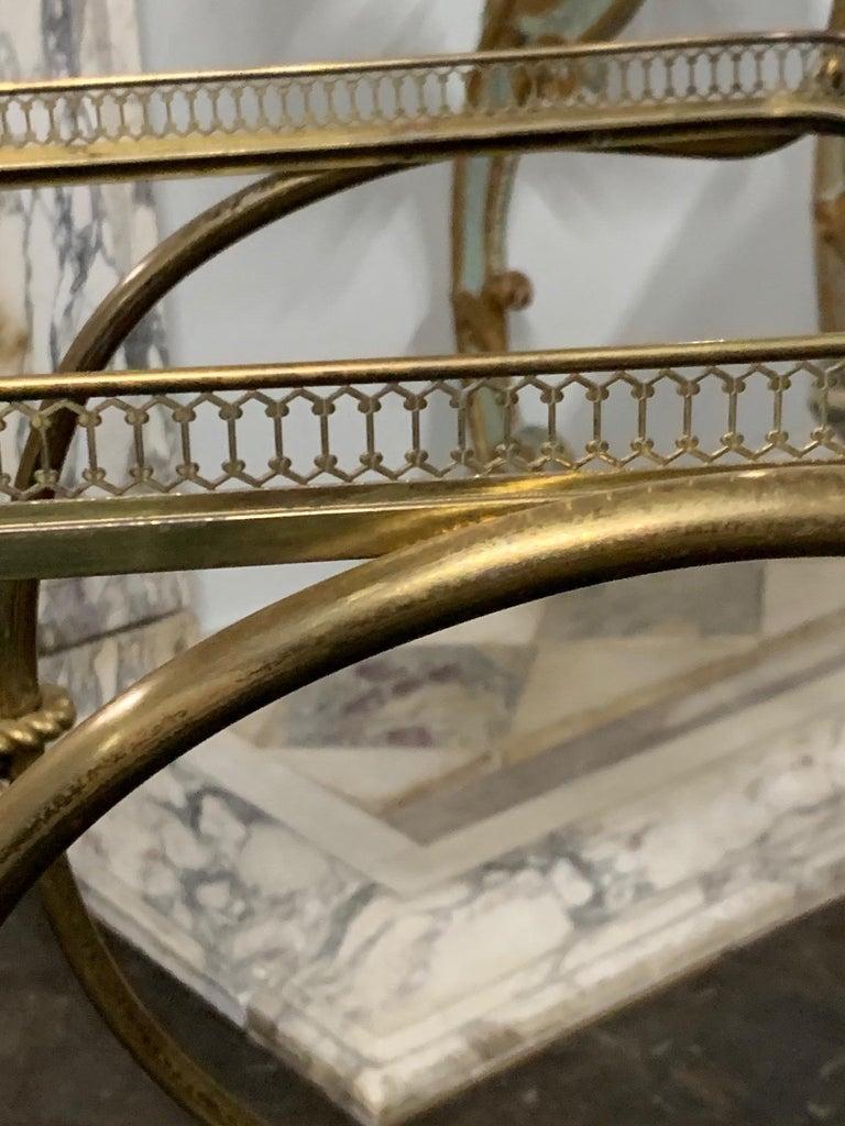 Vintage Brass Bar Cart For Sale 1