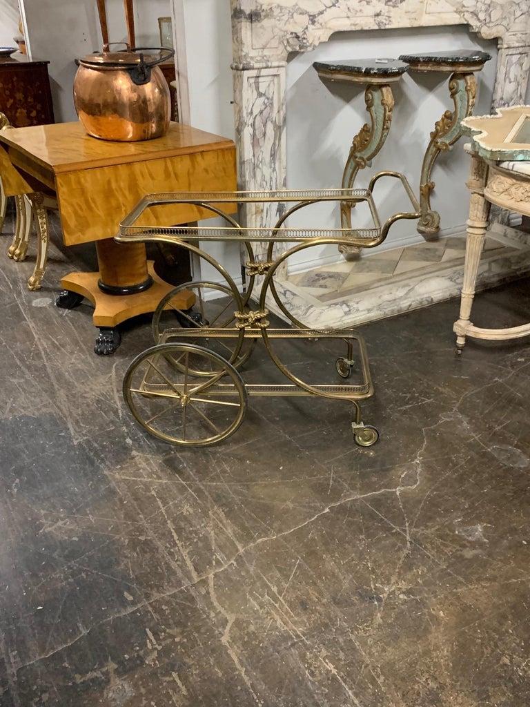 Vintage Brass Bar Cart For Sale 2