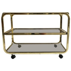 Vintage Brass Plated Bar Cart Table Brown Smoked Glass Plates by Morex, 1970s