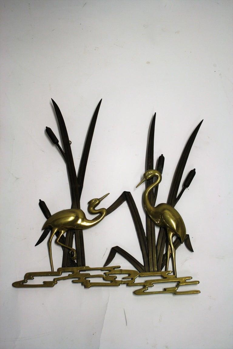 Midcentury brass heron bird sculpture.  Beautiful Minimalist design.  Good condition.  Belgium, 1970s.  Measures: Height 56cm/22.04