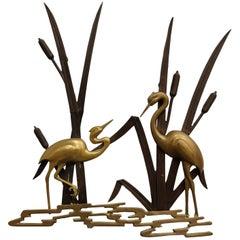 Vintage Brass Bird Sculpture, 1970s