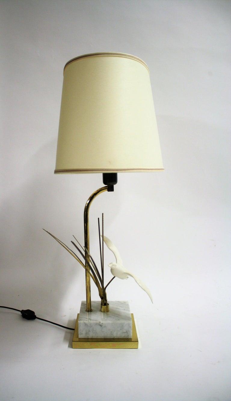 Hollywood Regency Vintage Brass Bird Table Lamp, 1970s For Sale