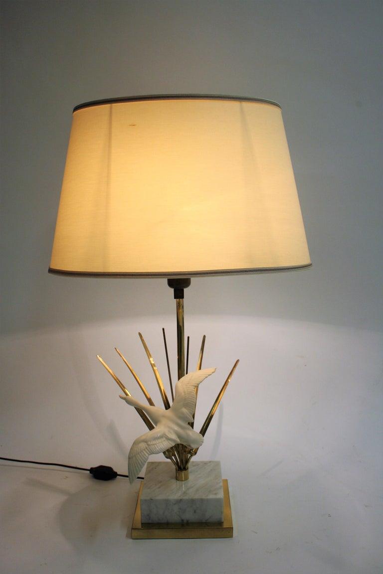 Belgian Vintage Brass Bird Table Lamp, 1970s For Sale