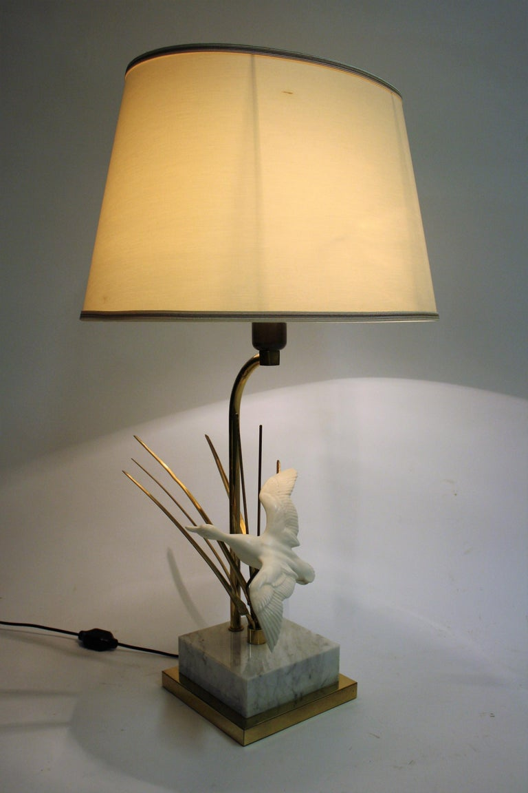 Vintage Brass Bird Table Lamp, 1970s In Excellent Condition For Sale In Neervelp, BE