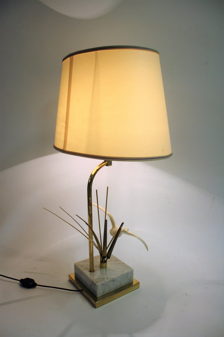Late 20th Century Vintage Brass Bird Table Lamp, 1970s For Sale