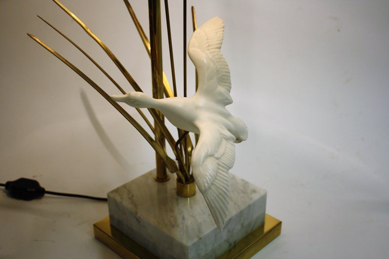 Vintage Brass Bird Table Lamp, 1970s For Sale 1