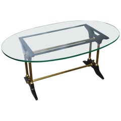Vintage Brass, Black and Glass Coffee Table