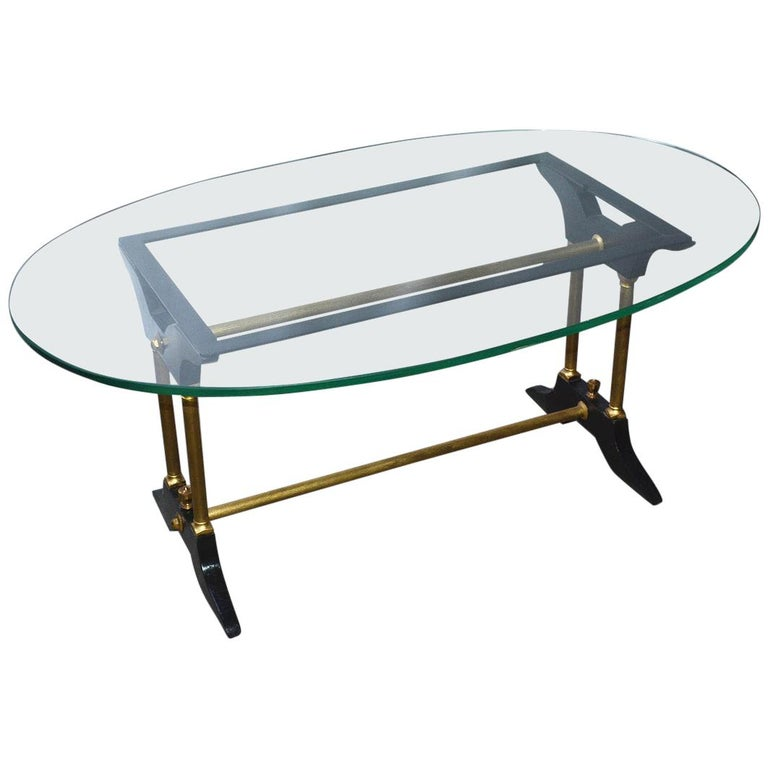 Vintage Brass, Black and Glass Coffee Table For Sale