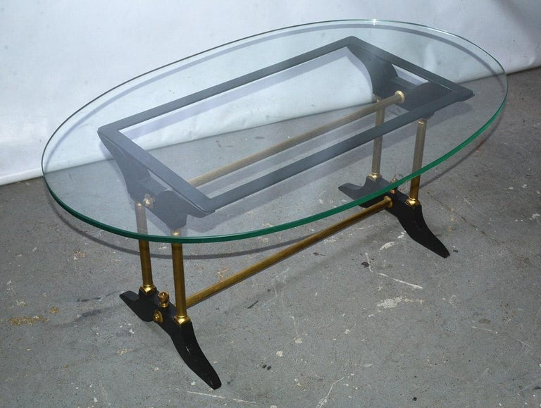 Vintage Brass, Black and Glass Coffee Table In Good Condition For Sale In Great Barrington, MA