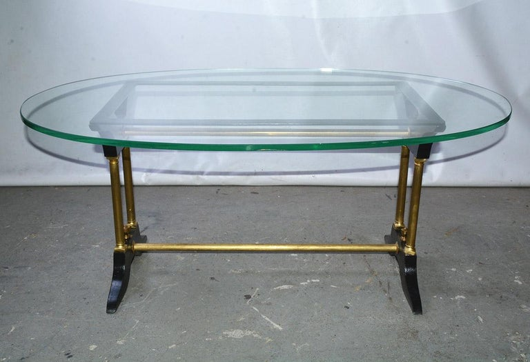 Vintage Brass, Black and Glass Coffee Table For Sale 1