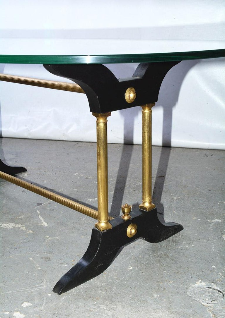 Vintage Brass, Black and Glass Coffee Table For Sale 2