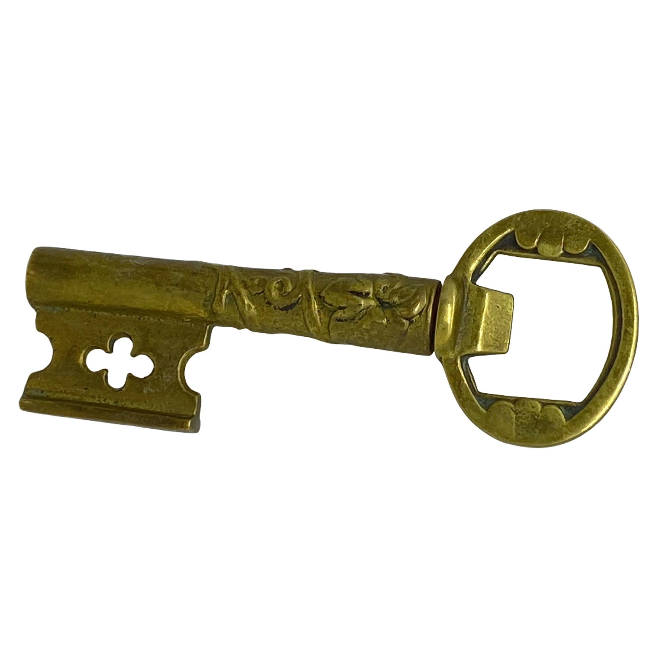 Vintage Brass Bronze Key Corkscrew and Bottle Opener Metal Breweriana Barware