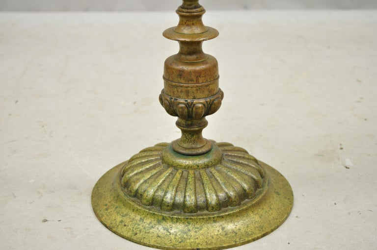 Vintage Brass Bronze Medieval Knight Figural Smoking Stand Ashtray Spiral Column For Sale 4