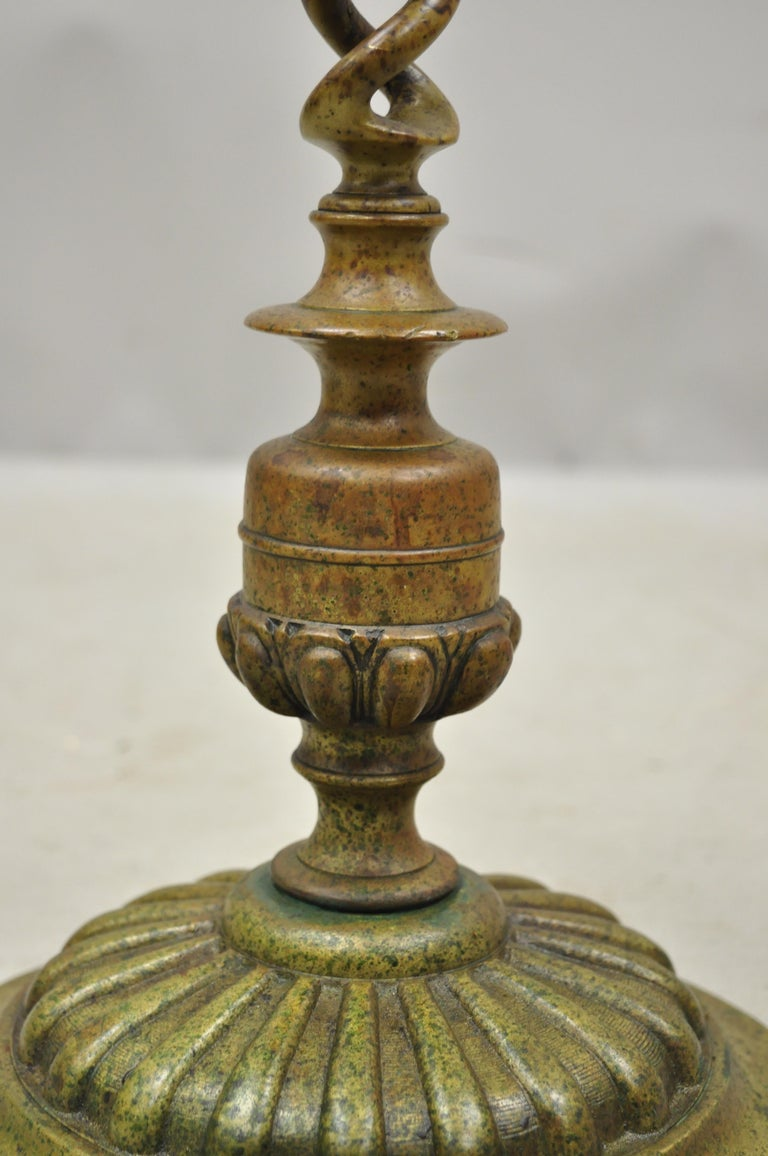 Vintage Brass Bronze Medieval Knight Figural Smoking Stand Ashtray Spiral Column For Sale 6