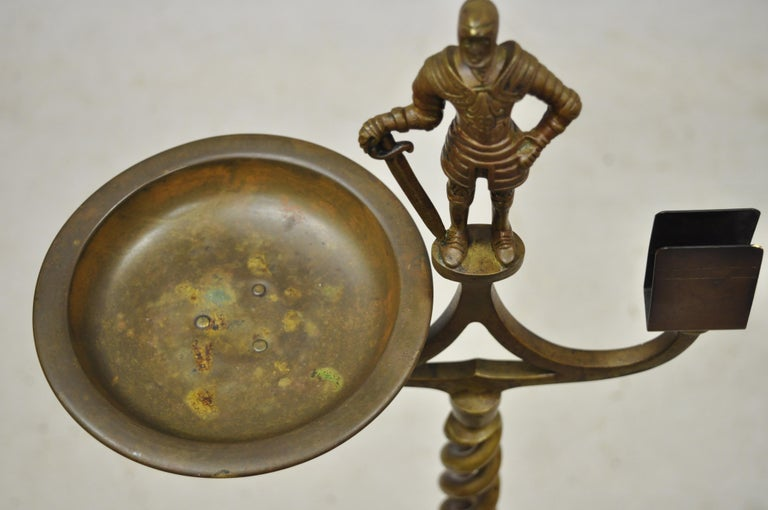 Gothic Vintage Brass Bronze Medieval Knight Figural Smoking Stand Ashtray Spiral Column For Sale