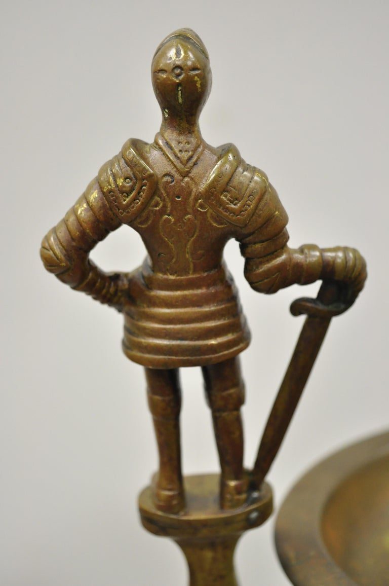 20th Century Vintage Brass Bronze Medieval Knight Figural Smoking Stand Ashtray Spiral Column For Sale