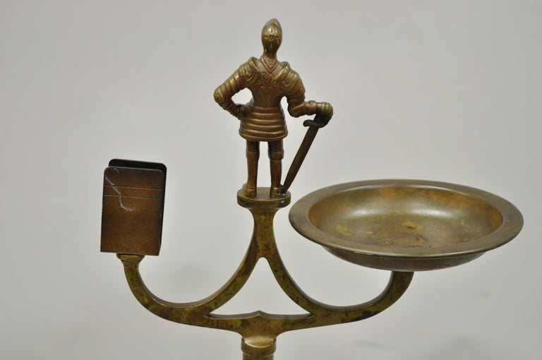 Vintage Brass Bronze Medieval Knight Figural Smoking Stand Ashtray Spiral Column For Sale 1