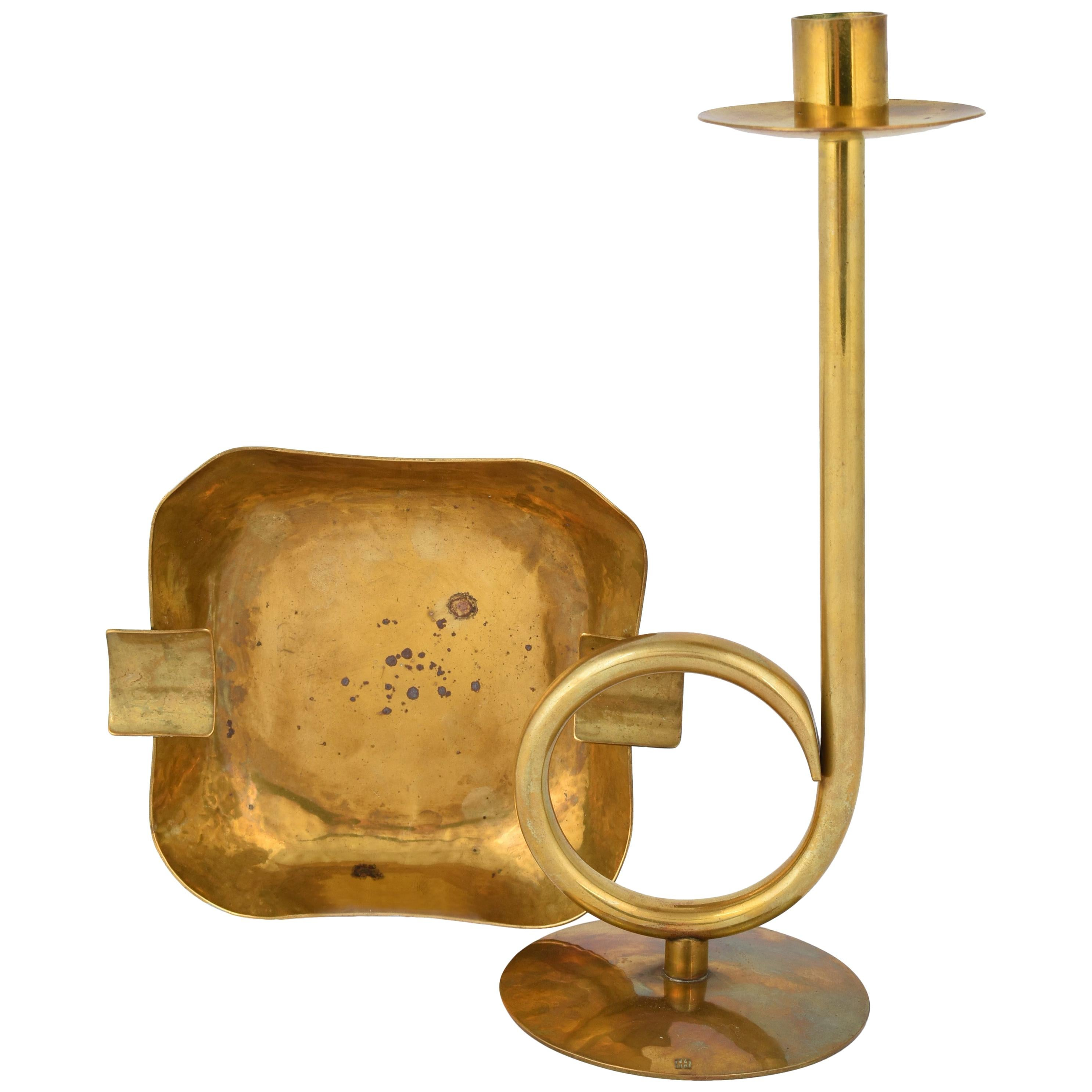 Vintage Brass Candlestick and Ashtray by Hayno Focken - Germany 1930s