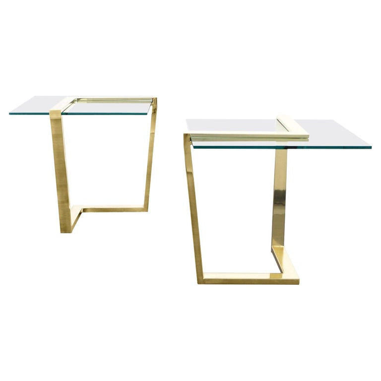 Vintage Brass Cantilevered Side Tables by DIA For Sale