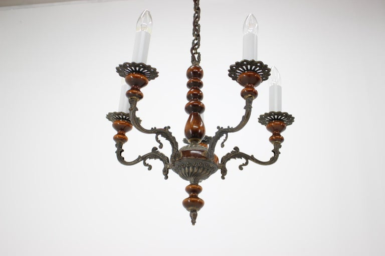 Vintage Brass Chandelier, 1950s In Good Condition For Sale In Praha, CZ
