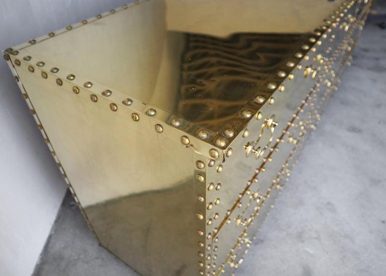 Vintage Brass Clad Nine-Drawer Dresser by Sarreid For Sale 1