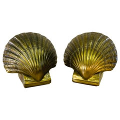 Vintage Brass Clam Shell Bookends, Pair