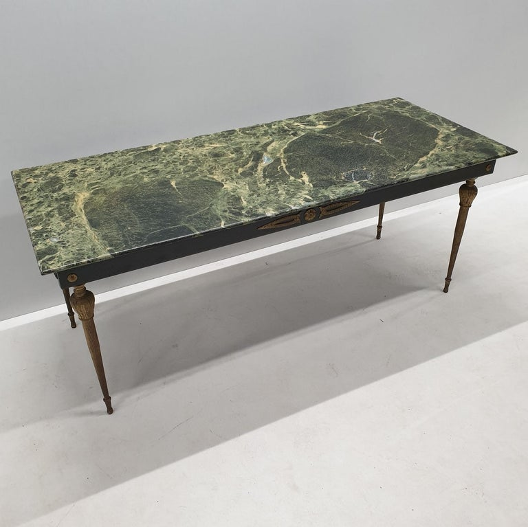 Vintage Brass Coffee Table With A Green Marble Top, 1950s