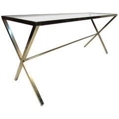Vintage Brass Console Table with Glass Tabletop