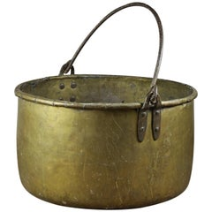 Vintage Brass Cooking Pot with Steel Handle, 20th Century