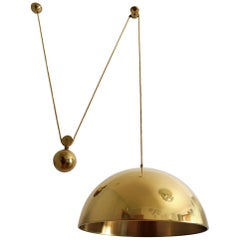 Vintage Brass Counterweight Large Pendant Light POSA by Florian Schulz, 1970s