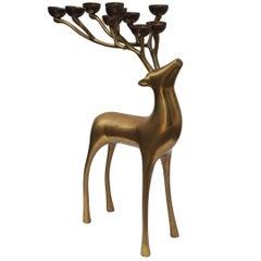 Vintage Brass Deer Candle, France, 1970s