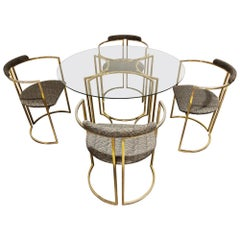 Vintage Brass Dining Room Set by Belgochrom, 1970s