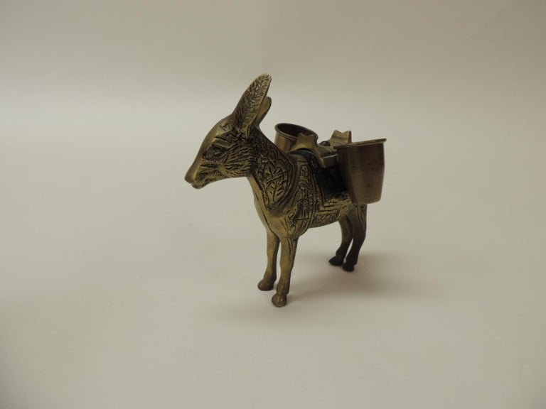 Moorish Vintage Brass Donkey Toothpicks Holder For Sale