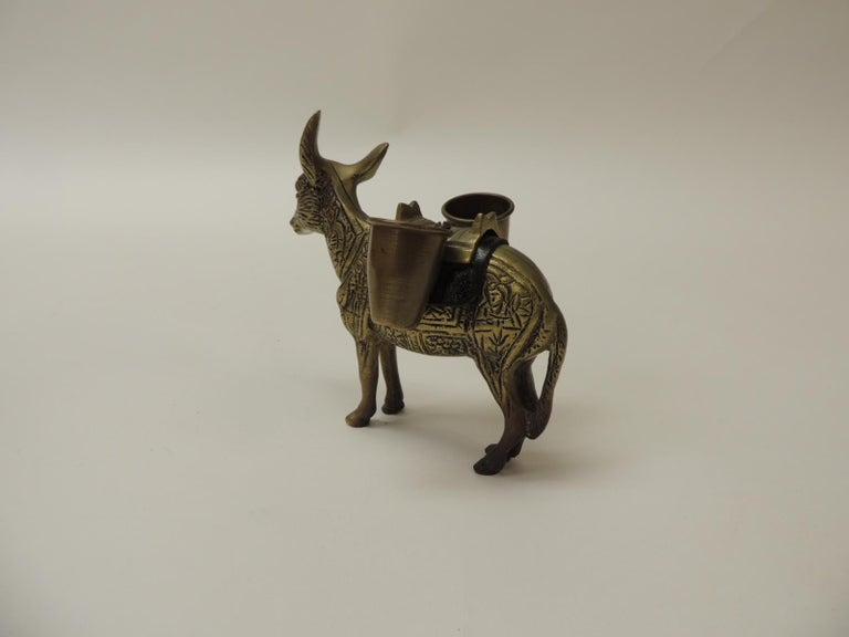 Hand-Crafted Vintage Brass Donkey Toothpicks Holder For Sale